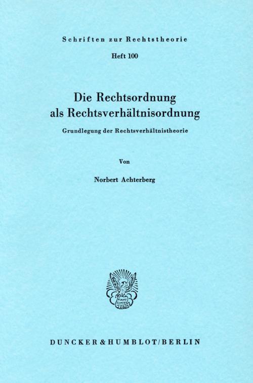 Die Rechtsordnung als Rechtsverhältnisordnung. cover
