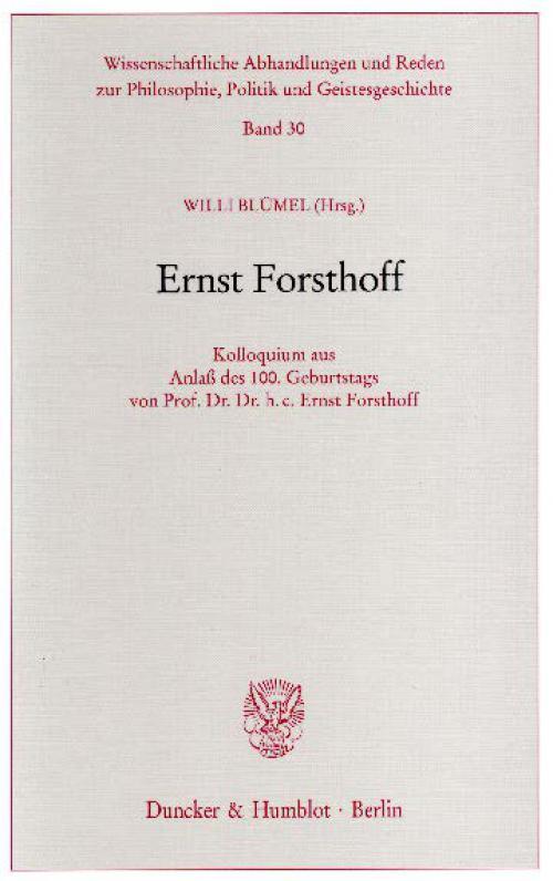 Ernst Forsthoff. cover