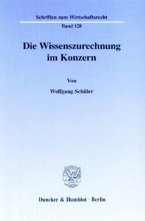 Die Wissenszurechnung im Konzern. cover