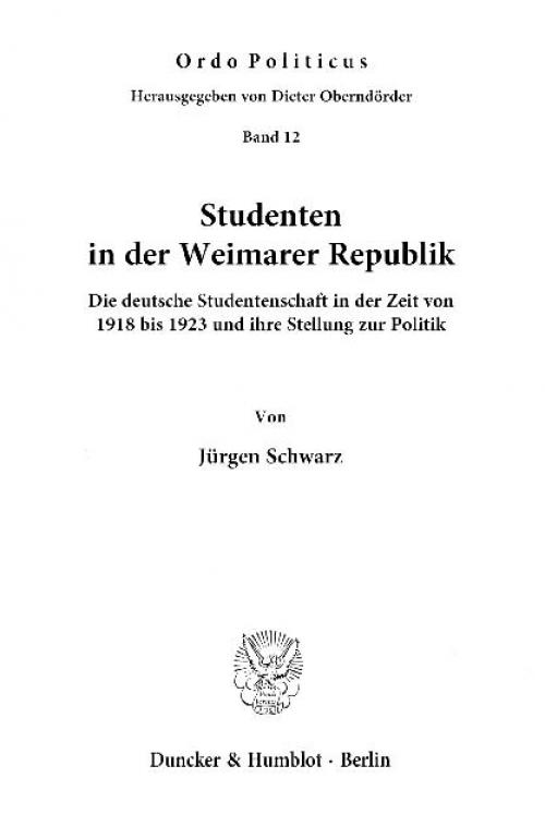 Studenten in der Weimarer Republik. cover