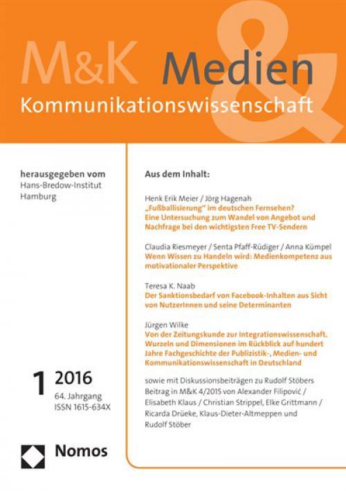 Alexander Filipovic´ / Elisabeth Klaus / Christian Strippel Der Ethik-Kodex der DGPuK. Erläuterungen aus Anlass des Beitrags von Rudolf Stöber in M&K 4/2015  cover