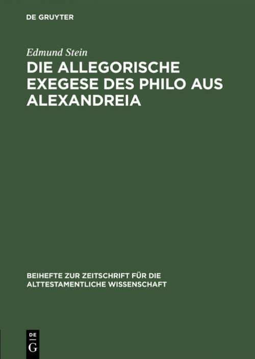 Die allegorische Exegese des Philo aus Alexandreia cover