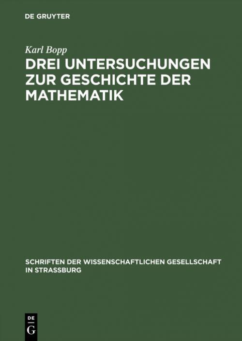 Drei Untersuchungen zur Geschichte der Mathematik cover