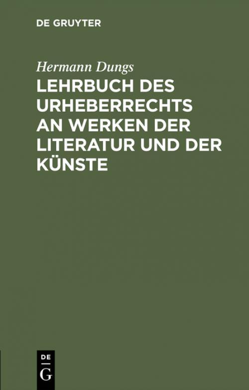 Lehrbuch des Urheberrechts an Werken der Literatur und der Künste cover