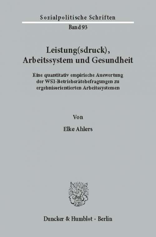 Leistung(sdruck), Arbeitssystem und Gesundheit. cover