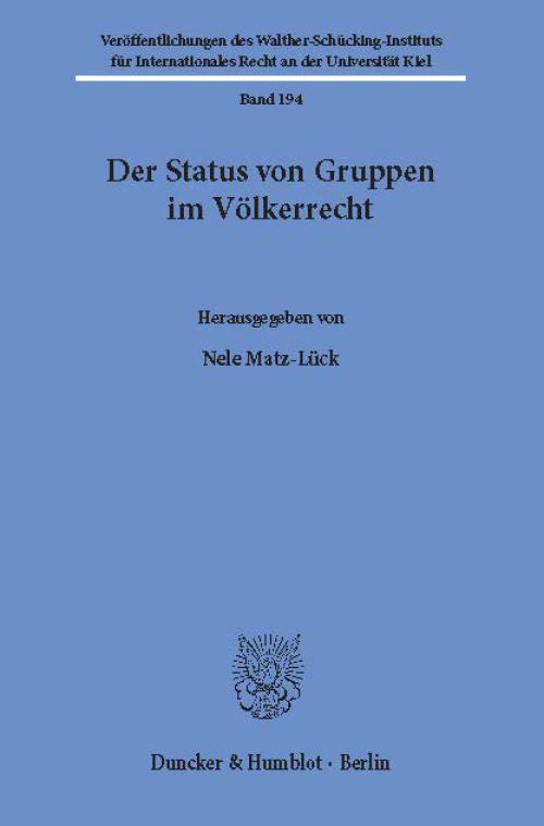 Der Status von Gruppen im Völkerrecht. cover