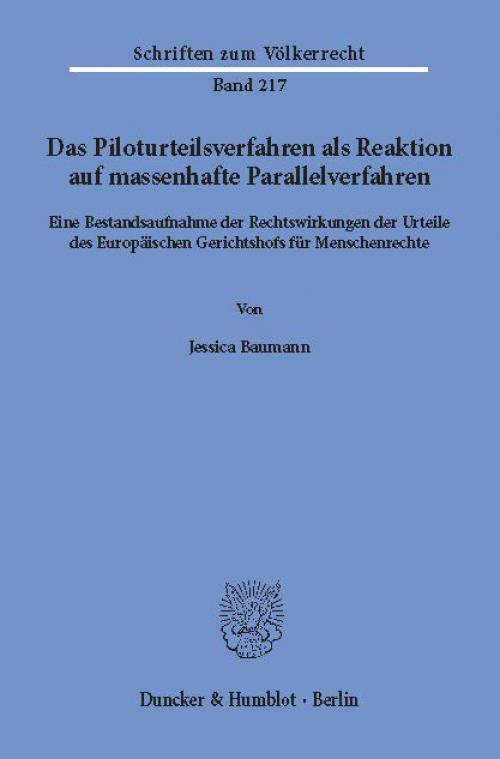 Das Piloturteilsverfahren als Reaktion auf massenhafte Parallelverfahren. cover