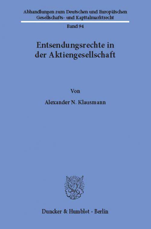 Entsendungsrechte in der Aktiengesellschaft. cover