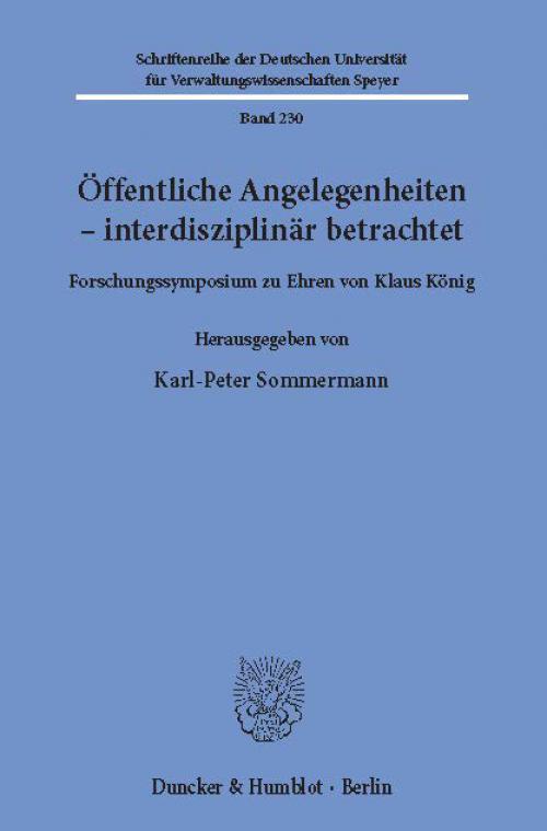 Öffentliche Angelegenheiten – interdisziplinär betrachtet. cover