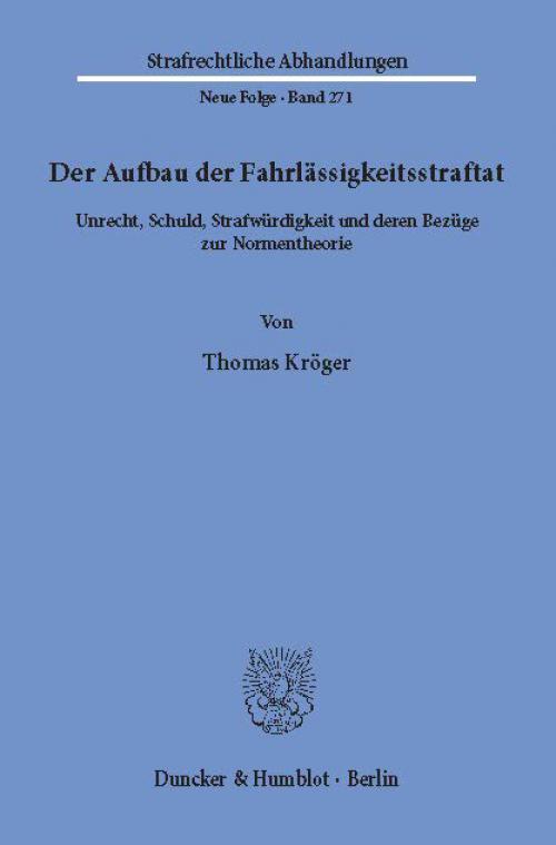 Der Aufbau der Fahrlässigkeitsstraftat. cover