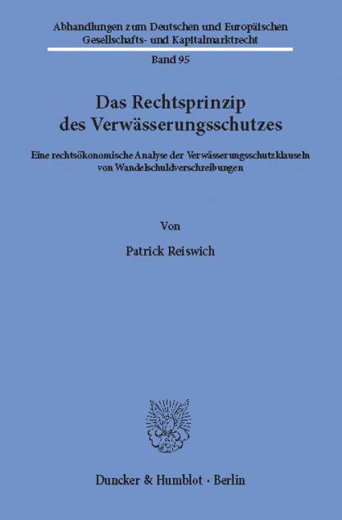 Das Rechtsprinzip des Verwässerungsschutzes. cover