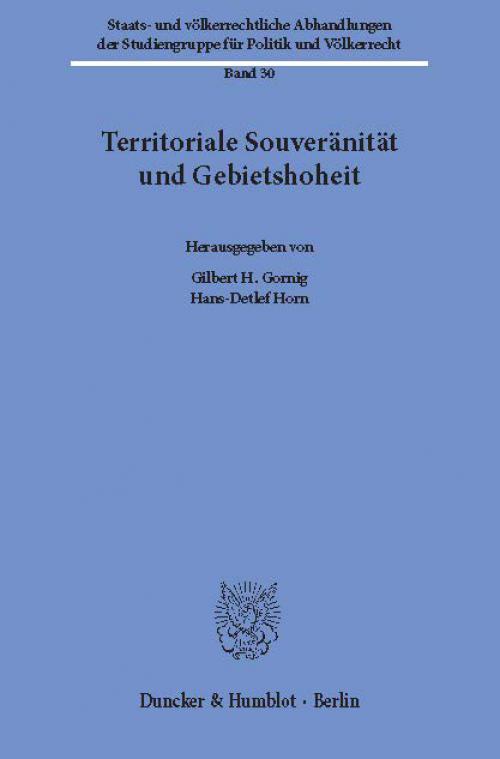 Territoriale Souveränität und Gebietshoheit. cover
