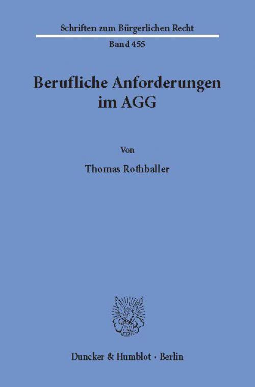 Berufliche Anforderungen im AGG. cover