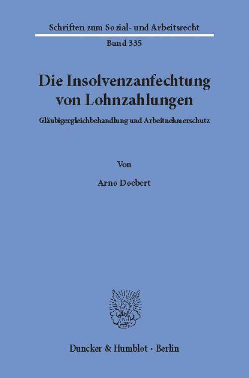Die Insolvenzanfechtung von Lohnzahlungen. cover