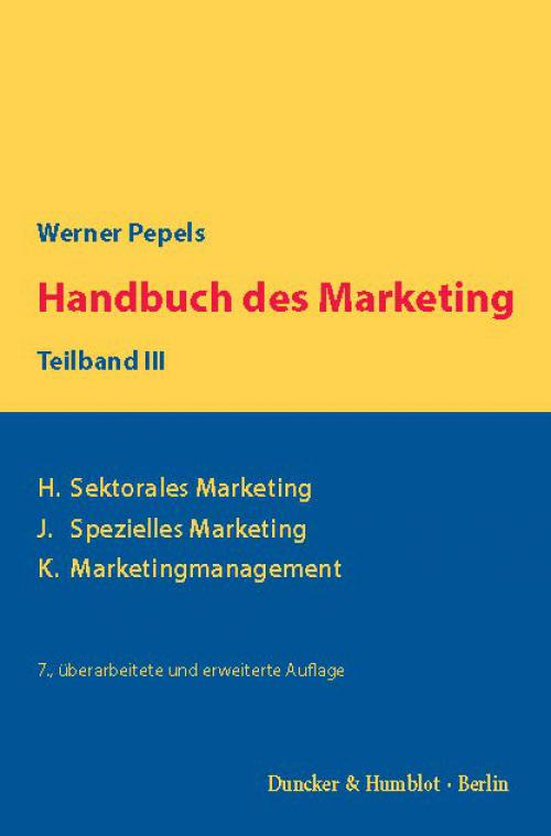 Handbuch des Marketing, Teilband III. cover