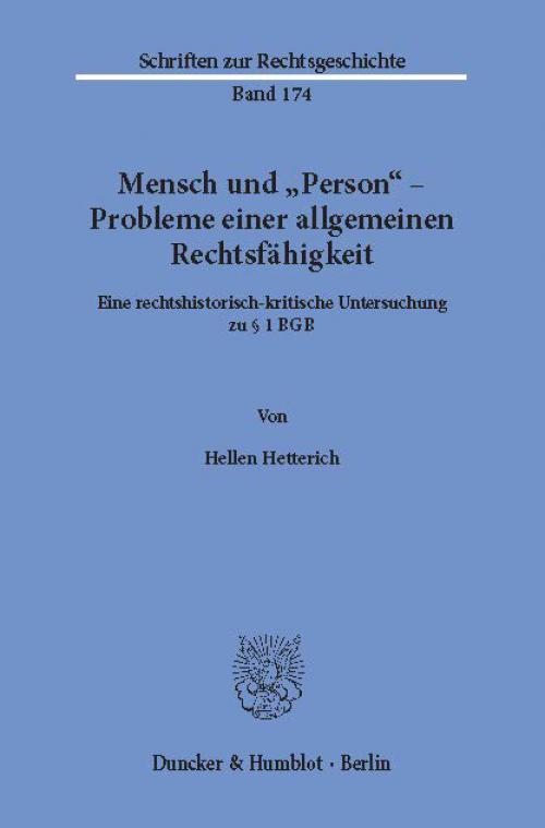 Mensch und »Person« – Probleme einer allgemeinen Rechtsfähigkeit. cover