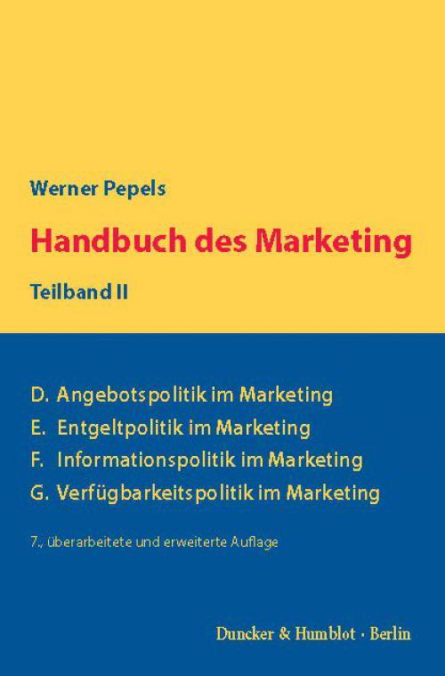 Handbuch des Marketing, Teilband II. cover