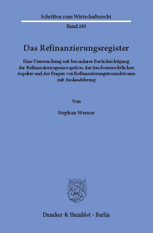 Das Refinanzierungsregister. cover