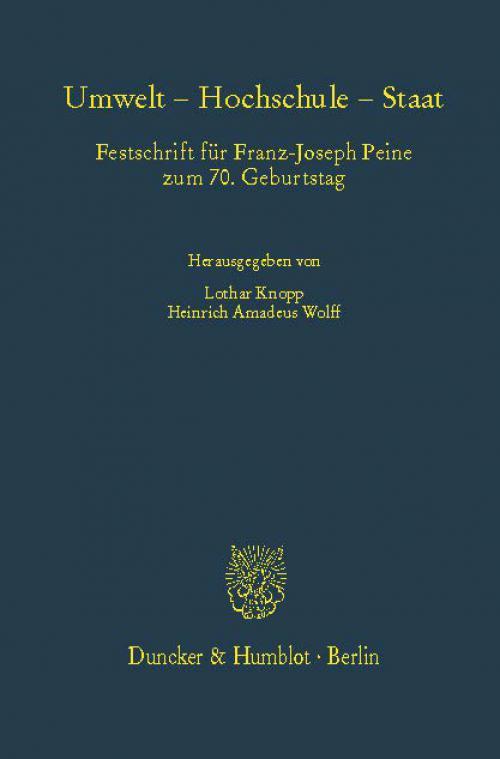 Umwelt – Hochschule – Staat. cover