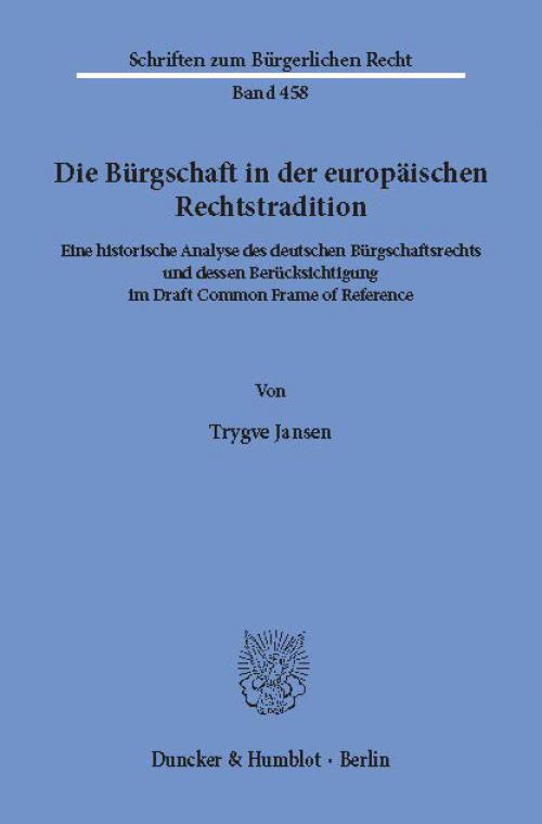 Die Bürgschaft in der europäischen Rechtstradition. cover