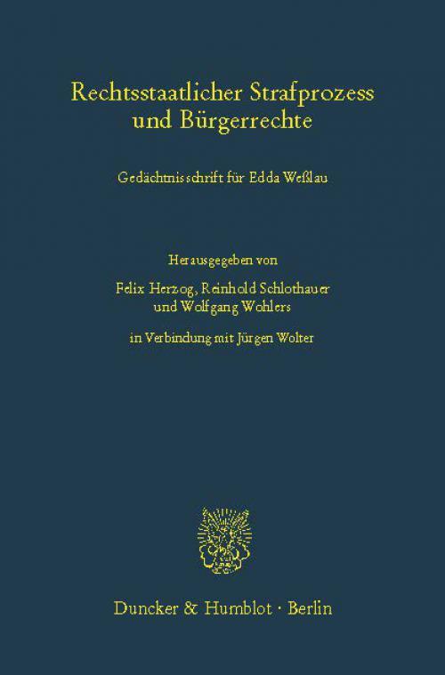 Rechtsstaatlicher Strafprozess und Bürgerrechte. cover
