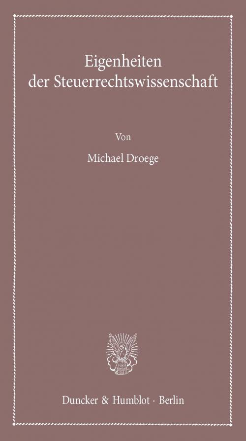 Eigenheiten der Steuerrechtswissenschaft. cover