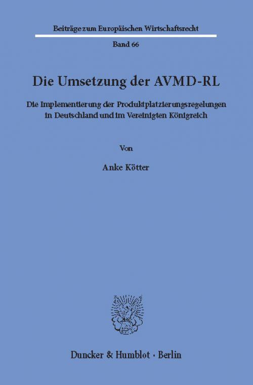 Die Umsetzung der AVMD-RL. cover