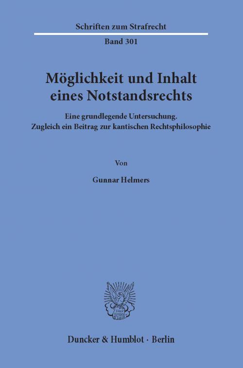 Möglichkeit und Inhalt eines Notstandsrechts. cover