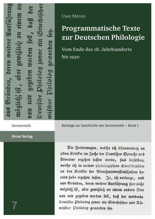 Programmatische Texte zur Deutschen Philologie cover