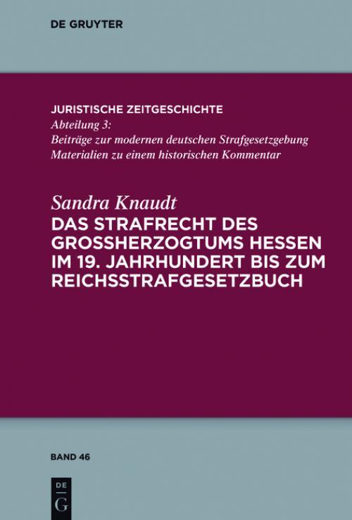 Das Strafrecht des Großherzogtums Hessen im 19. Jahrhundert bis zum Reichsstrafgesetzbuch cover