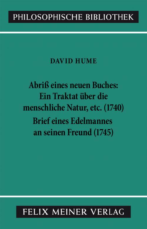 Abriss eines neuen Buches, betitelt: Ein Traktat über die menschliche Natur, etc. Brief eines Edelmannes an seinen Freund in Edinburgh cover