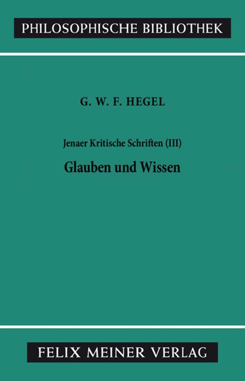 Jenaer Kritische Schriften / Jenaer Kritische Schriften III cover