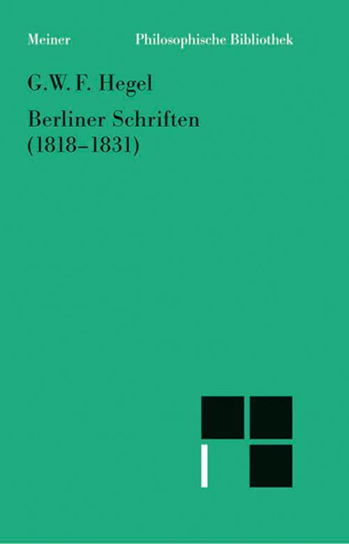 Berliner Schriften (1818-1831) cover