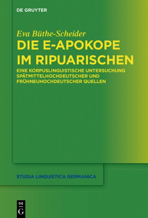 Die e-Apokope im Ripuarischen cover
