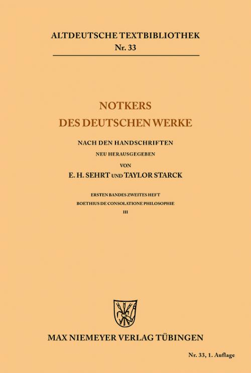 Notkers des Deutschen Werke cover