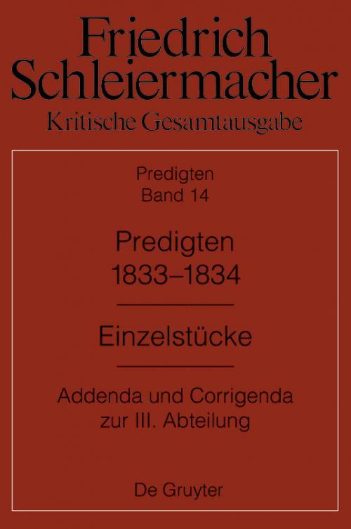 Predigten 1833-1834 cover