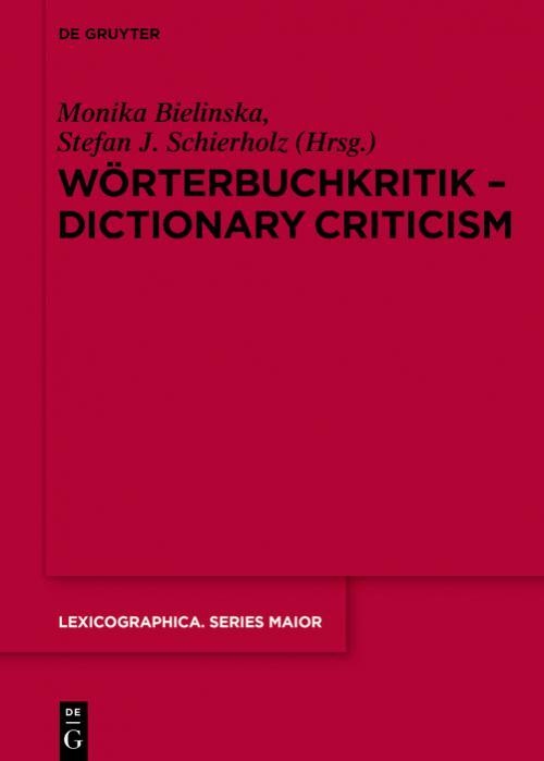 Wörterbuchkritik - Dictionary Criticism cover