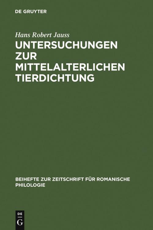 Untersuchungen zur mittelalterlichen Tierdichtung cover