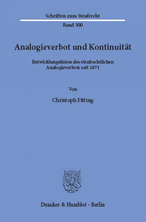 Analogieverbot und Kontinuität. cover